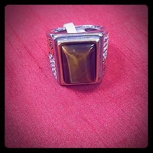 Stainless steel Tiger's Eye men's ring.